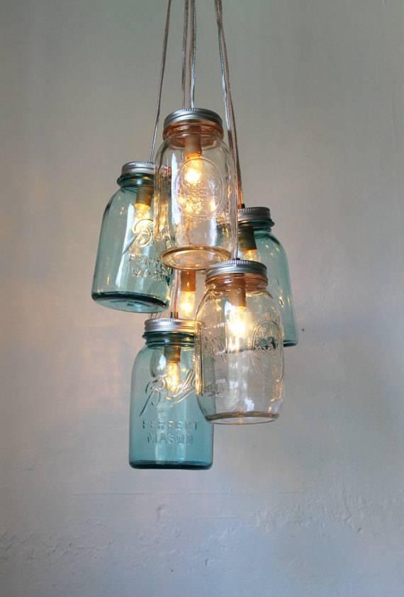 Ocean Sapphire Mason Jar Chandelier Mason Jar Light Modern Within Mason Jar Pendant Lights (View 11 of 15)