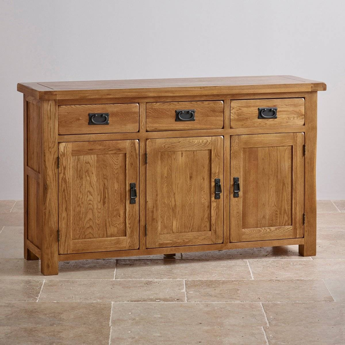 Original Rustic Large Sideboard In Solid Oak | Oak Furniture Land With Large Oak Sideboards (#10 of 15)