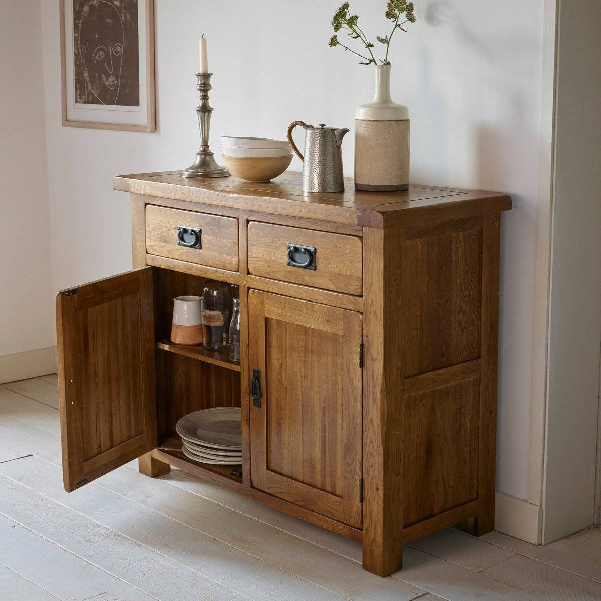 Original Rustic Solid Oak Small Sideboard | Oak Furniture Land Inside Small Wooden Sideboards (#10 of 15)