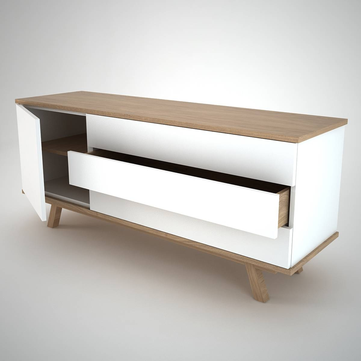 Ottawa Sideboard (1+3) White – Join Furniture With Contemporary Oak Sideboards (#12 of 15)