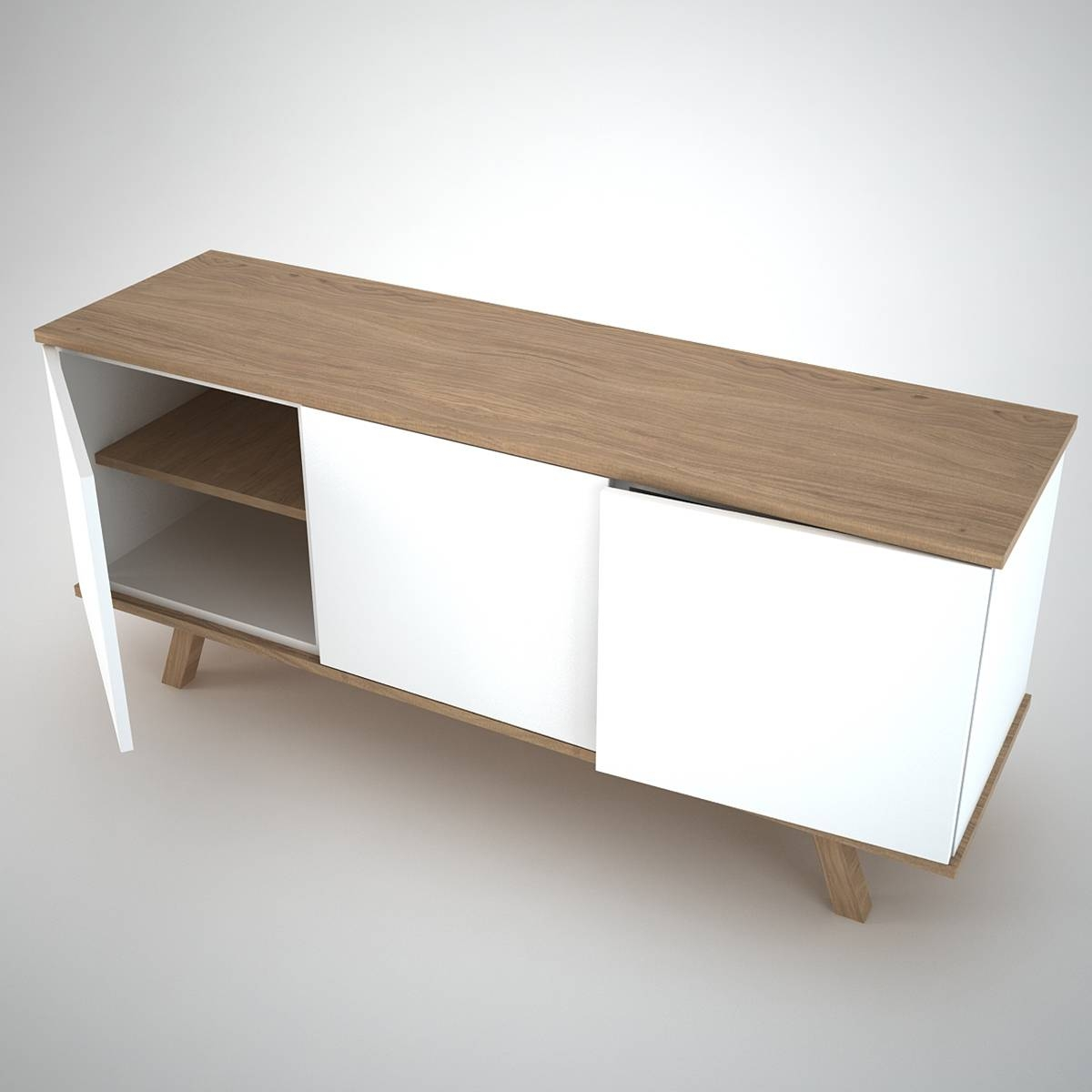 Ottawa Sideboard (3) White – Join Furniture Intended For White And Wood Sideboards (#5 of 15)
