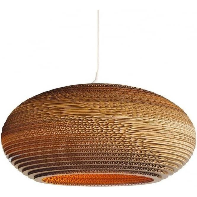 Oval Disc Shaped Ceiling Pendant Light In Recycled Corrugated Within Most Recent Ceiling Pendant Lights (#12 of 15)