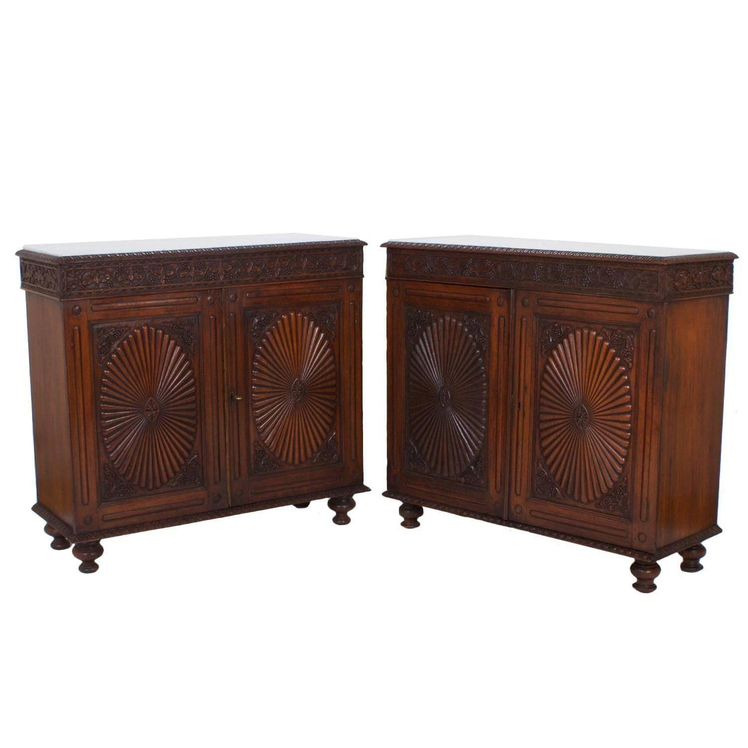 Pair Of Antique Anglo Indian Marble Top Sideboards Or Cabinets At Regarding Sideboards And Cabinets (View 11 of 15)