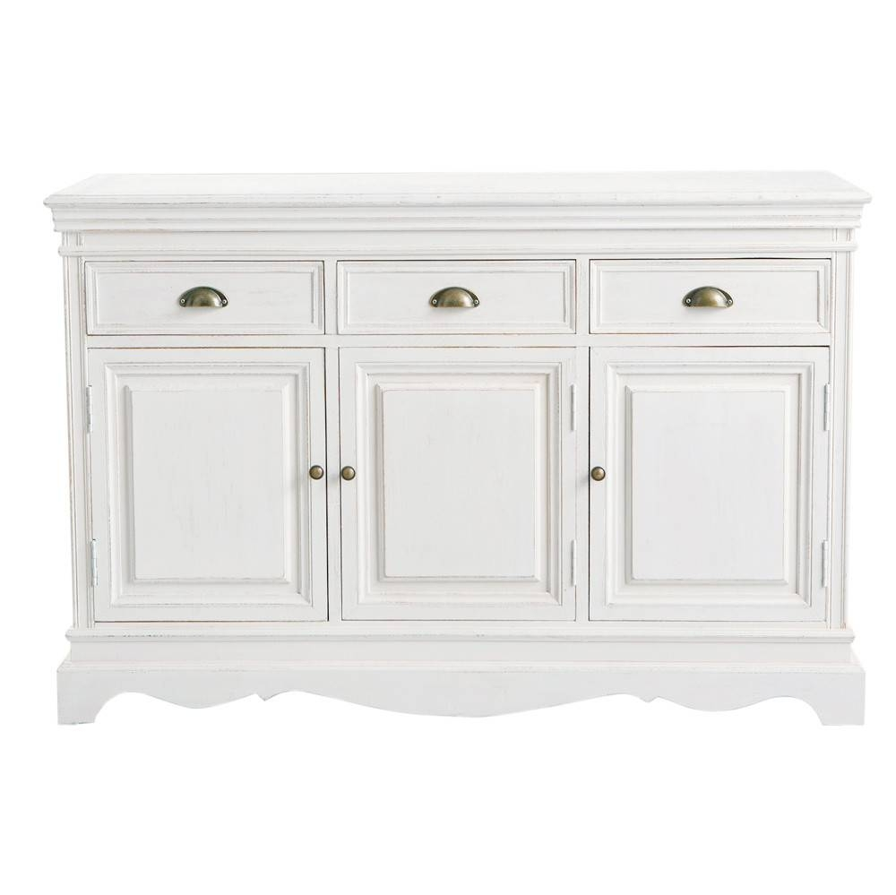 Paulownia Sideboard In White Joséphine | Maisons Du Monde Throughout White And Wood Sideboards (#7 of 15)