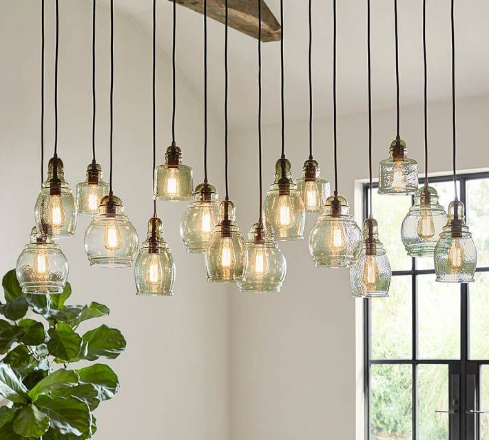 Paxton Glass 16 Light Pendant | Pottery Barn With Paxton Glass 3 Pendant Lights (#4 of 15)