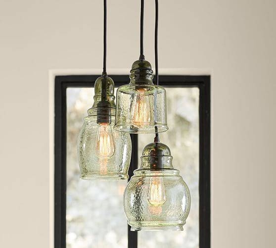 Paxton Glass 3 Light Pendant | Pottery Barn With Paxton Glass 3 Pendant Lights (View 2 of 15)