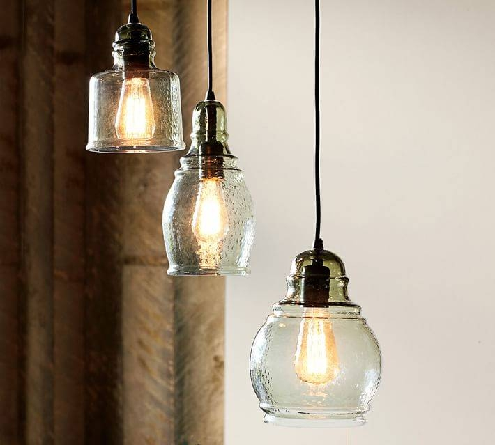 Paxton Glass 3 Light Pendant | Pottery Barn Within Paxton Glass 3 Pendant Lights (View 5 of 15)