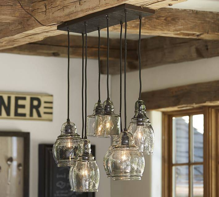 Paxton Glass 8 Light Pendant | Pottery Barn With Regard To Paxton Glass 3 Pendant Lights (View 12 of 15)