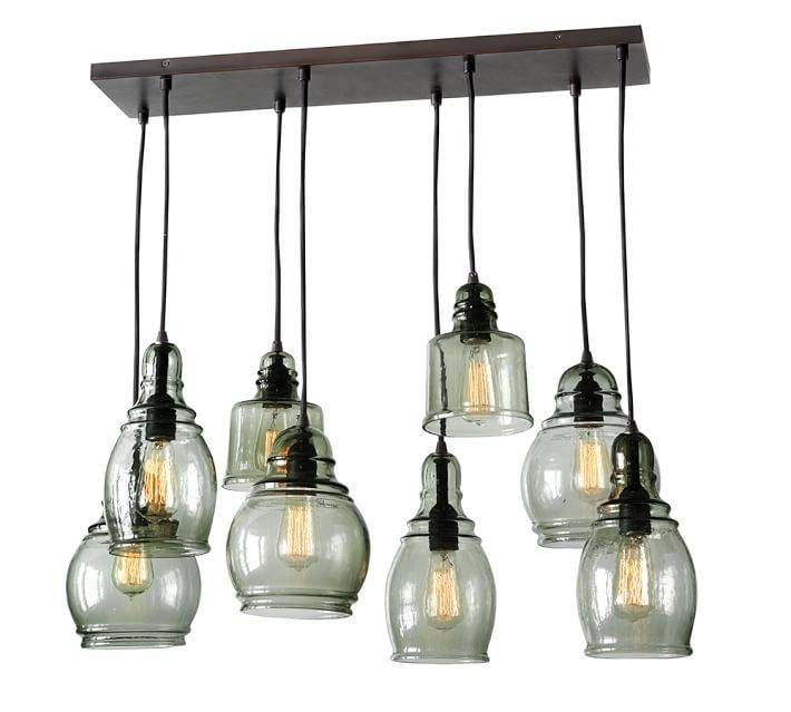 Paxton Glass 8 Light Pendant | Pottery Barn With Regard To Paxton Glass 3 Pendant Lights (View 8 of 15)