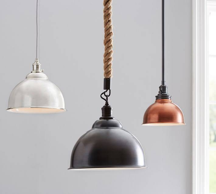 Pb Classic Metal Bell Pendant | Pottery Barn Throughout Most Recently Released Bell Pendant Lights (#14 of 15)