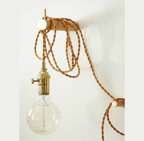 Pendant Light Brass Wall Lighting Edison Bulb Adjustable With Regard To Most Current Pendant Wall Lights (#8 of 15)