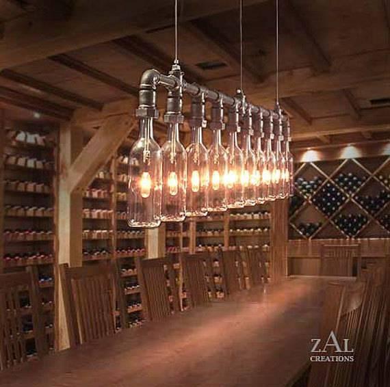 Pendant Light. Wine Beer Bottles Suspension Lamp (View 11 of 15)
