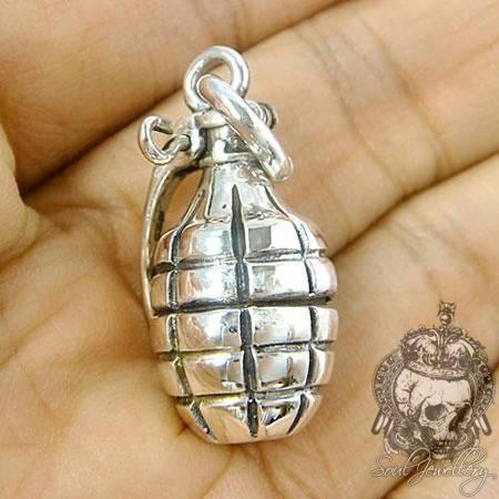 Pendants :: Biker Collection :: Men's Silver Pendant Hand Grenade In Most Recent Grenade Pendants (#13 of 15)