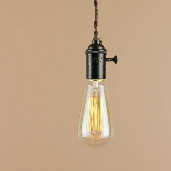 Plug In Pendant Light With Edison Light Bulb 10 Foot Cord Within Bare Bulb Hanging Pendant Lights (View 8 of 15)