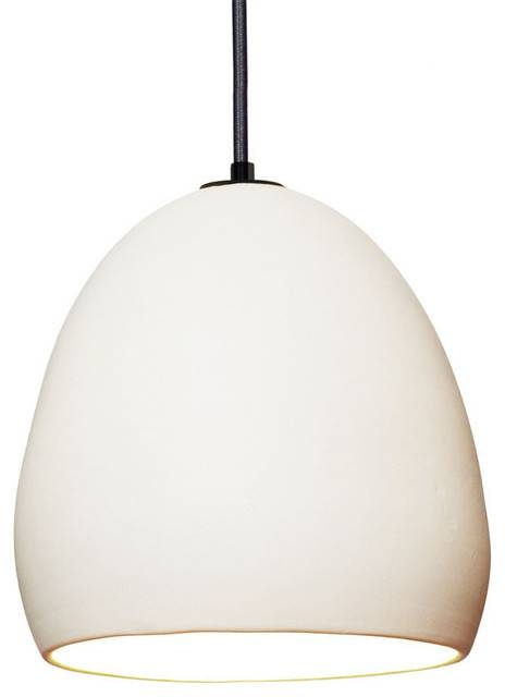 Porcelain Handmade Ceramic Matte White Clay Pendant Light – Modern Inside Current White Modern Pendant Lights (#11 of 15)