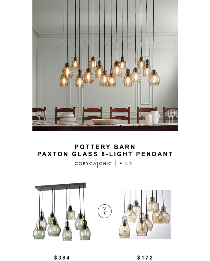 Pottery Barn Paxton Glass 8 Light Pendant – Copycatchic Pertaining To Paxton Hand Blown Glass 8 Light Pendants (View 11 of 15)