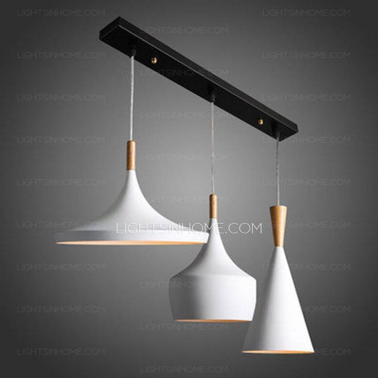 Pure Aluminum Fixture 3 Light White Modern Pendant Light Intended For Most Up To Date Modern White Pendant Lights (View 10 of 15)
