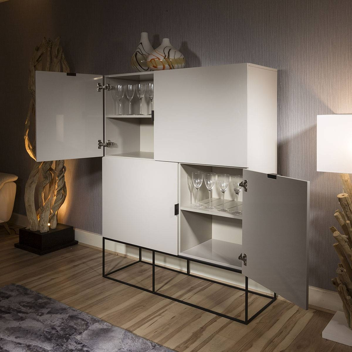 Quatropi Modern Tall Cabinet / Sideboard In Light Grey Gloss New Throughout Grey Gloss Sideboards (#8 of 15)