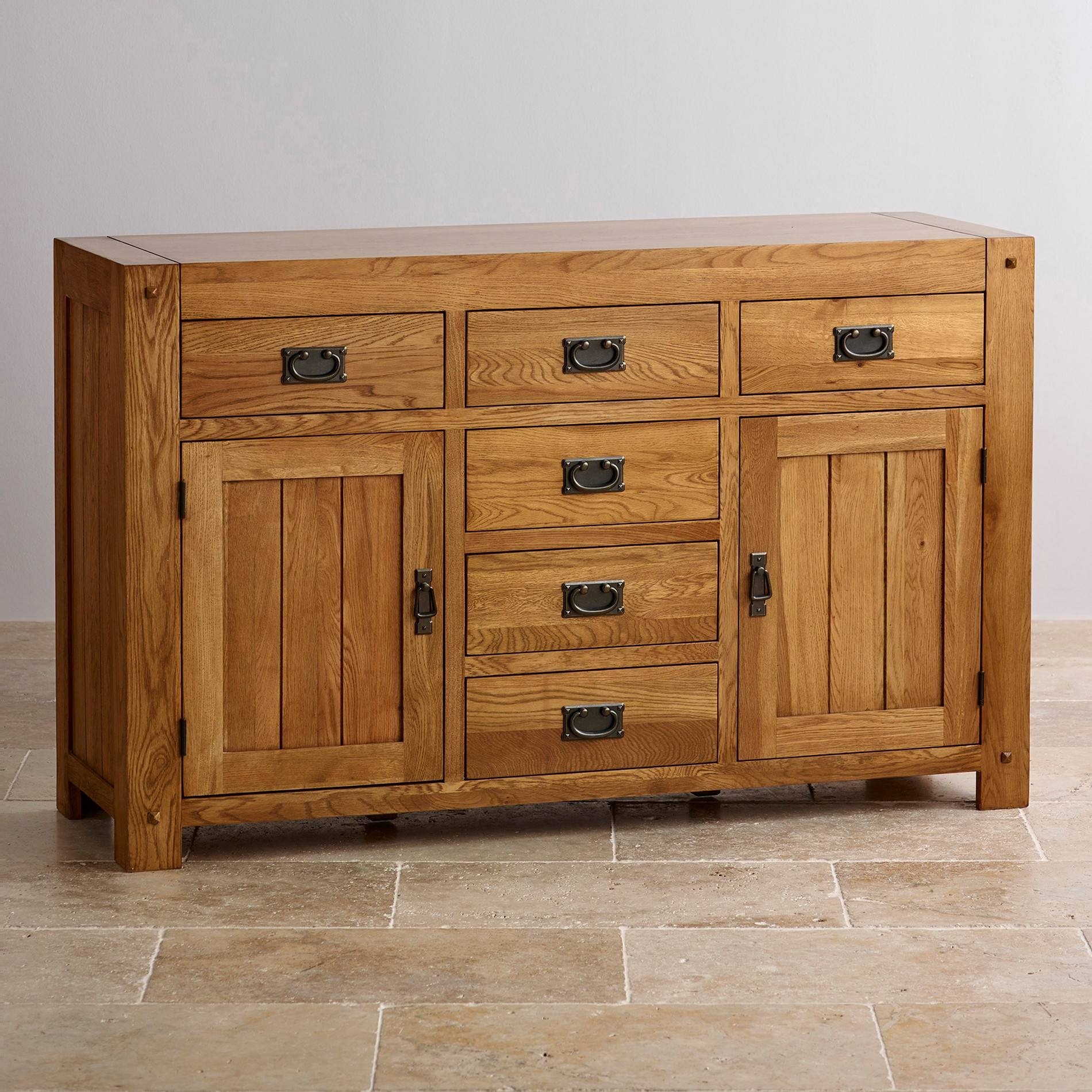 Quercus Large Sideboard | Rustic Oak | Oak Furniture Land Within Large Oak Sideboards (#11 of 15)