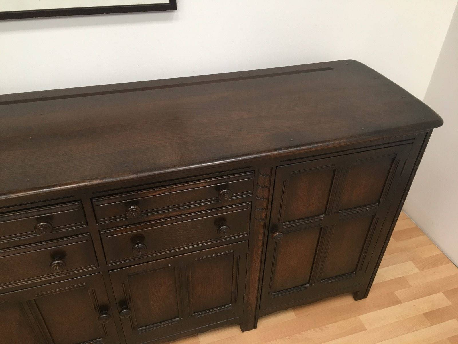 Rare Large Vintage Ercol 7 Foot Mid Century Sideboard In Dark Inside 7 Foot Sideboards (View 4 of 15)