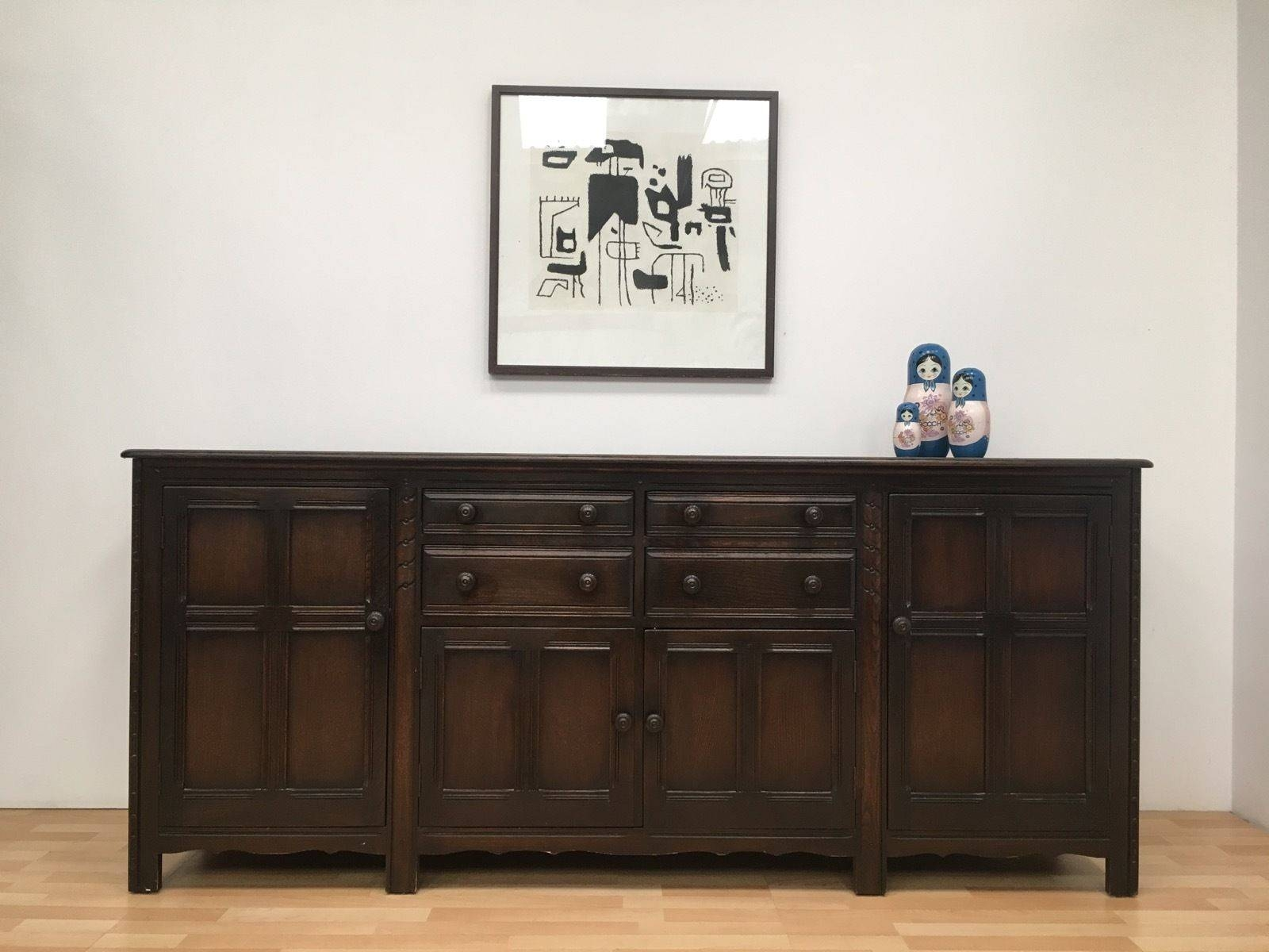 Rare Large Vintage Ercol 7 Foot Mid Century Sideboard In Dark Intended For 7 Foot Sideboards (View 6 of 15)