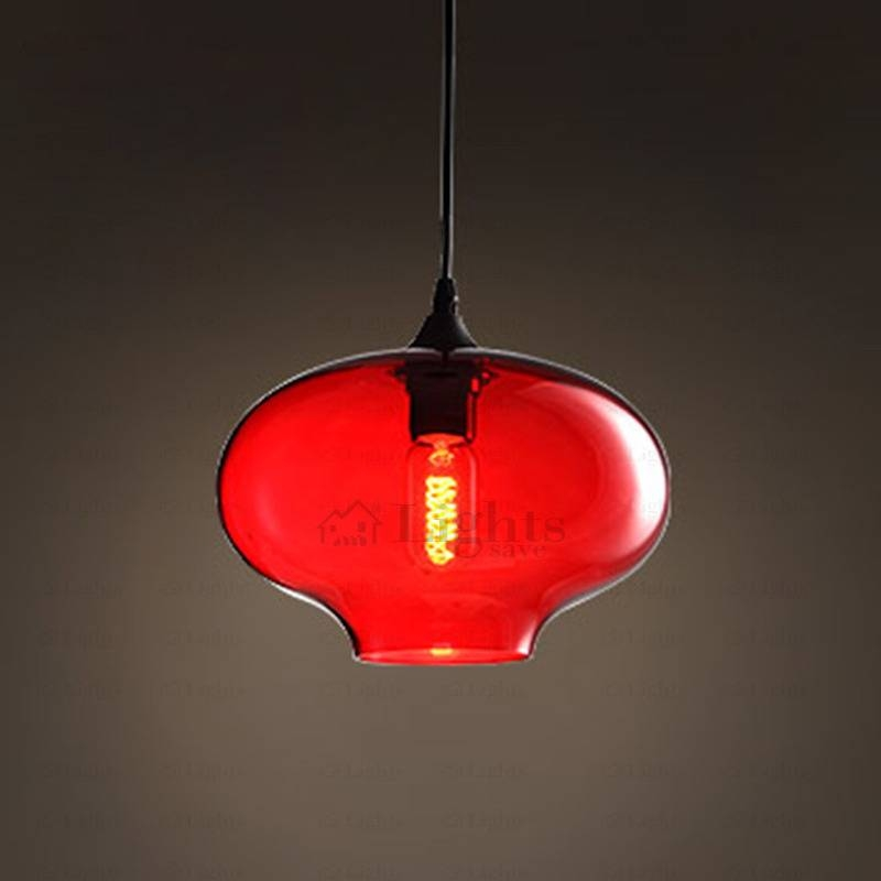 Red Hand Blown Glass Pendant Lights Industrial With Regard To Recent Red Glass Pendant Lights (#14 of 15)