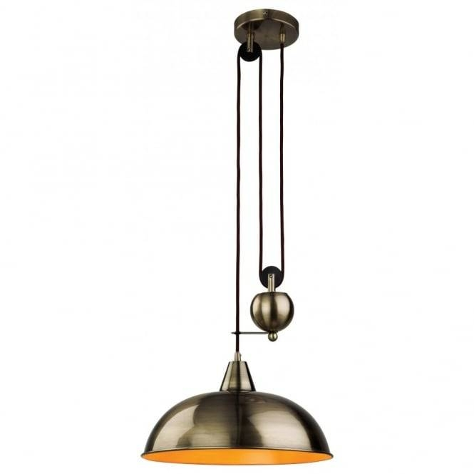 Retro Antique Brass Rise & Fall Ceiling Pendant Inside Recent Up And Down Pendant Lights (#10 of 15)