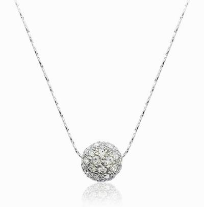 Rhinestone Crystal Iced Out Ball Pendant Necklace With White Gold Inside Newest Gold Ball Pendants (#12 of 15)