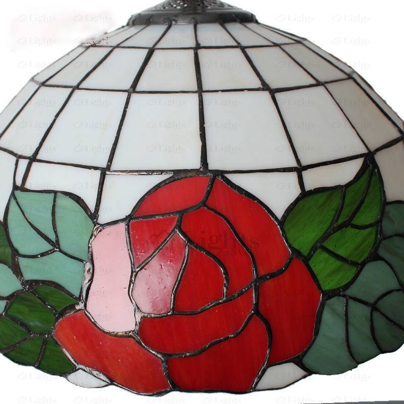 Rose Flower Glass Shade Tiffany Pendant Lights With 2017 Beautiful Pendant Lights (#12 of 15)