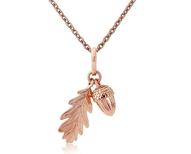 Rose Gold Acorn And Leaf Pendant With A Rose Gold Adjustable Chain Inside Latest Acorn Pendants (#8 of 15)