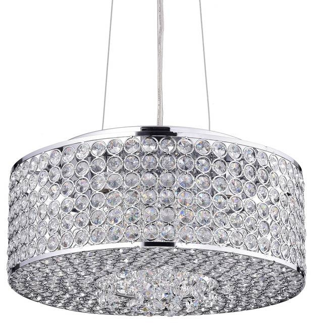 Inspiration about Round Drum Crystal Shade Chandelier, Chrome – Contemporary Pertaining To Most Recent Contemporary Pendant Lighting (#7 of 15)