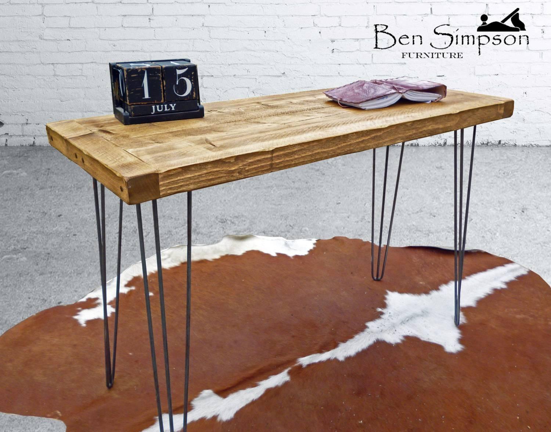 Rustic Desk Chunky Solid Wood Sideboard Dressing Table Metal Regarding Metal Sideboard Furniture (#13 of 15)