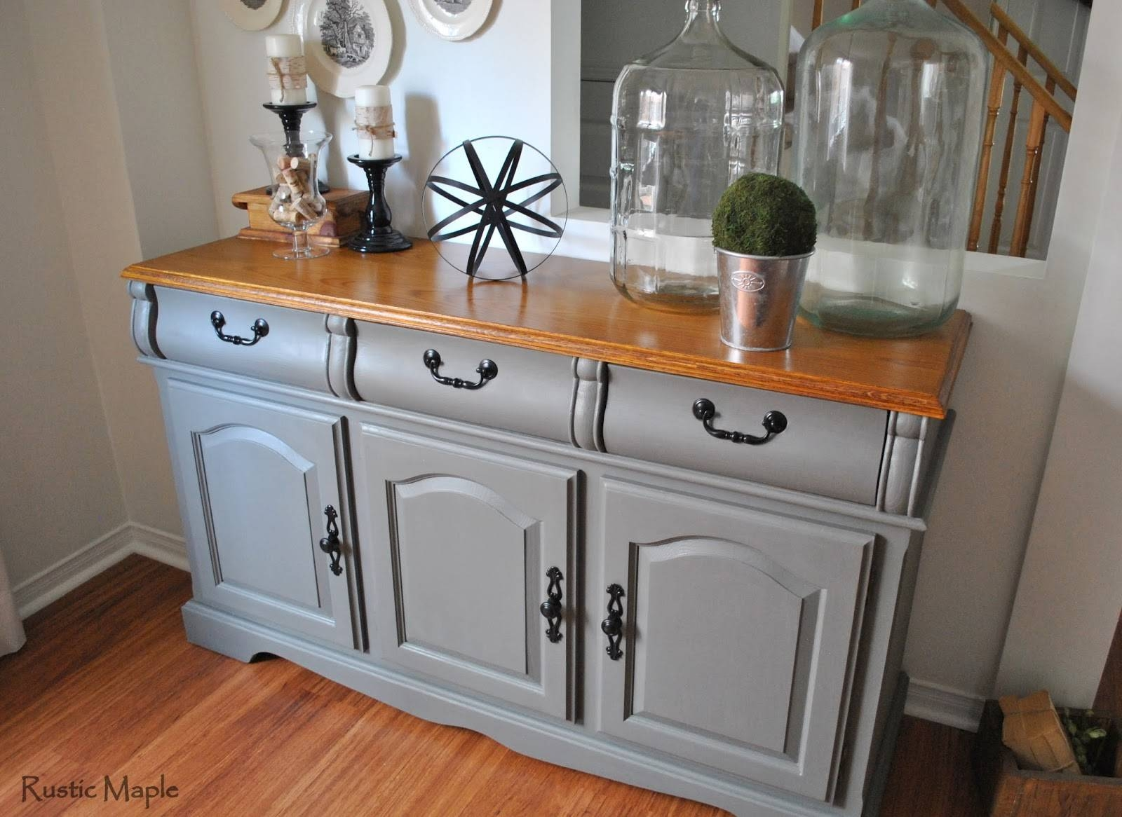Rustic Maple: Painted Buffet In Country Chic Paint's Cobblestone With Grey Wood Sideboards (#7 of 15)
