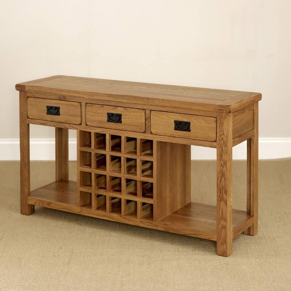 Rustic Oak Buffet Sideboard With Wine Rack Regarding Oak Sideboards With Wine Rack (#6 of 15)