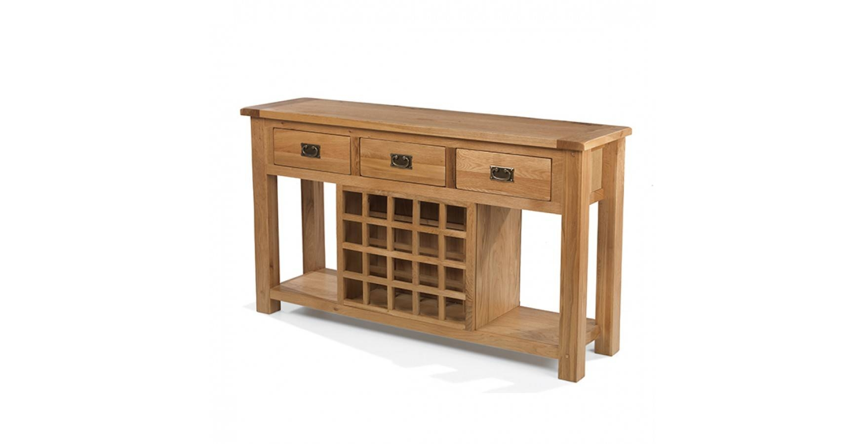 Rustic Oak Wine Rack Console Table – Lifestyle Furniture Uk Throughout Oak Sideboards With Wine Rack (#7 of 15)