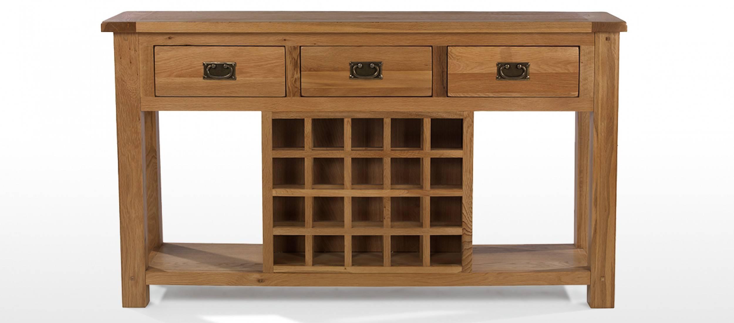 Rustic Oak Wine Rack Console Table | Quercus Living Regarding Oak Sideboards With Wine Rack (#8 of 15)