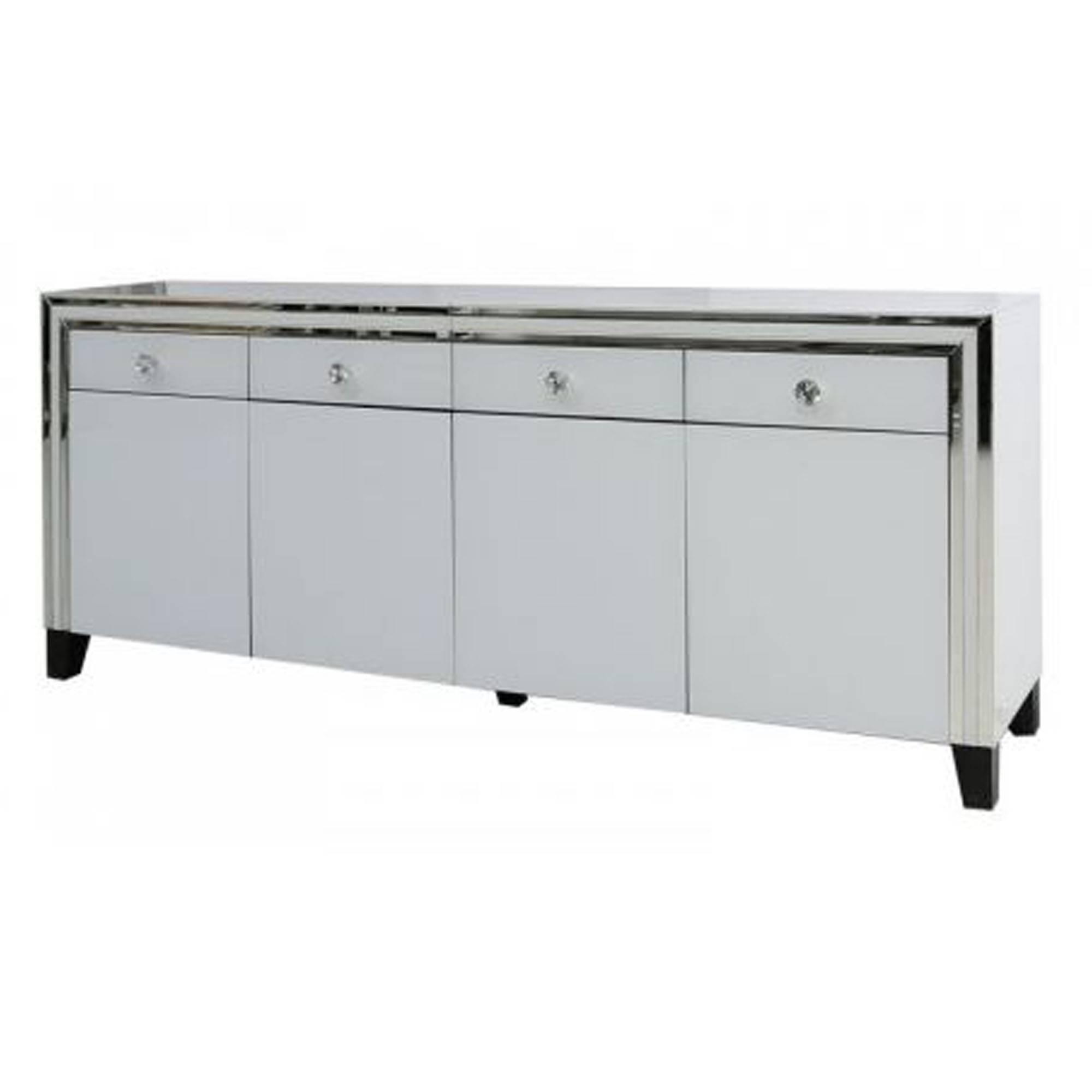 Savona White Mirrored Sideboard | Sideboard | Homesdirect365 Within White Mirrored Sideboards (#8 of 15)