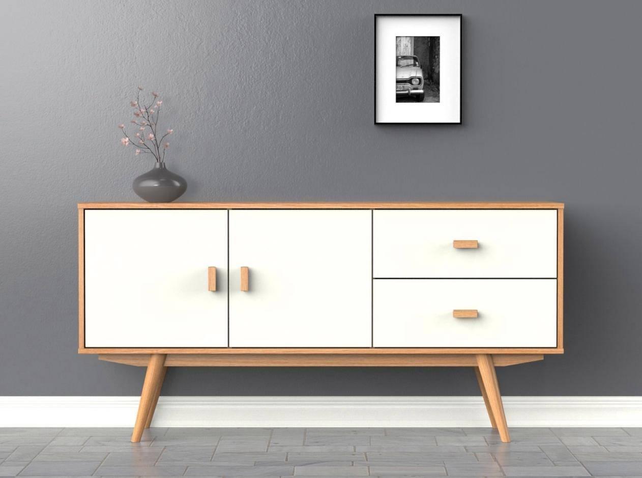 Scandi Sideboard – Large – White – Buffet – Scandinavian Retro Pertaining To Scandinavian Buffets And Sideboards (#9 of 15)
