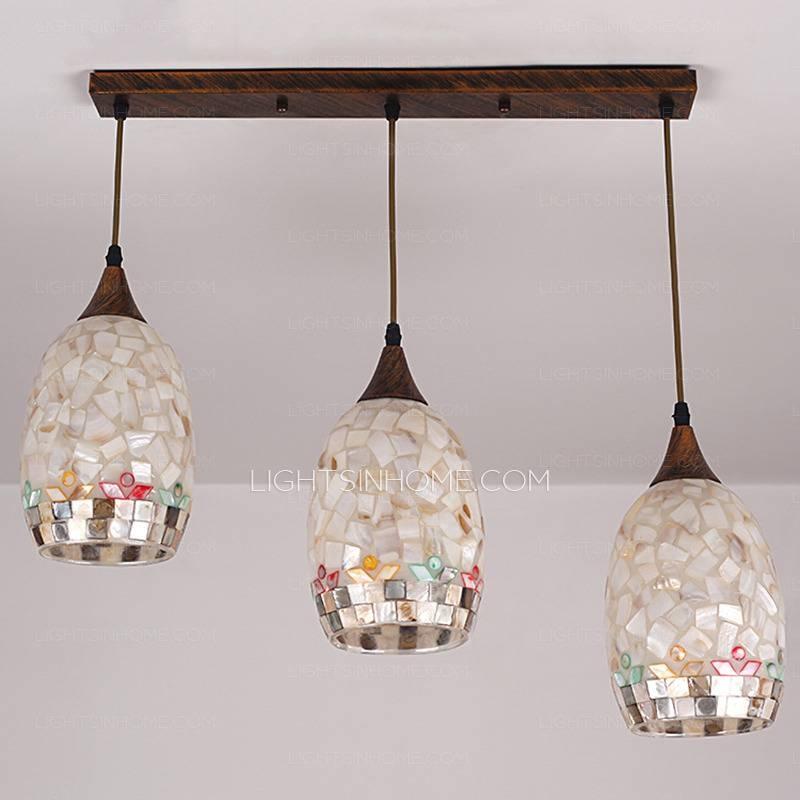 Seashell 3 Light Dinning Room Beautiful Pendant Light With Handmade Intended For 2017 Beautiful Pendant Lights (#13 of 15)