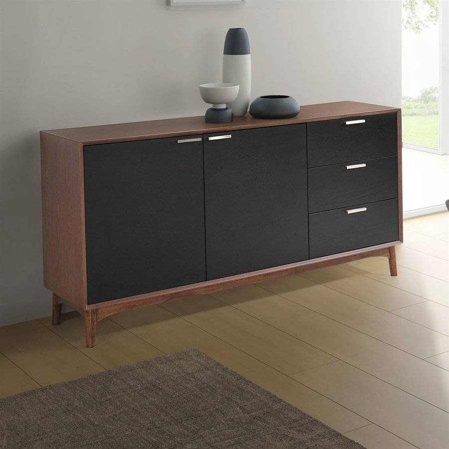 Shop Zuo Modern Liberty City Black/walnut Sideboard At Lowes Inside Black And Walnut Sideboards (#12 of 15)