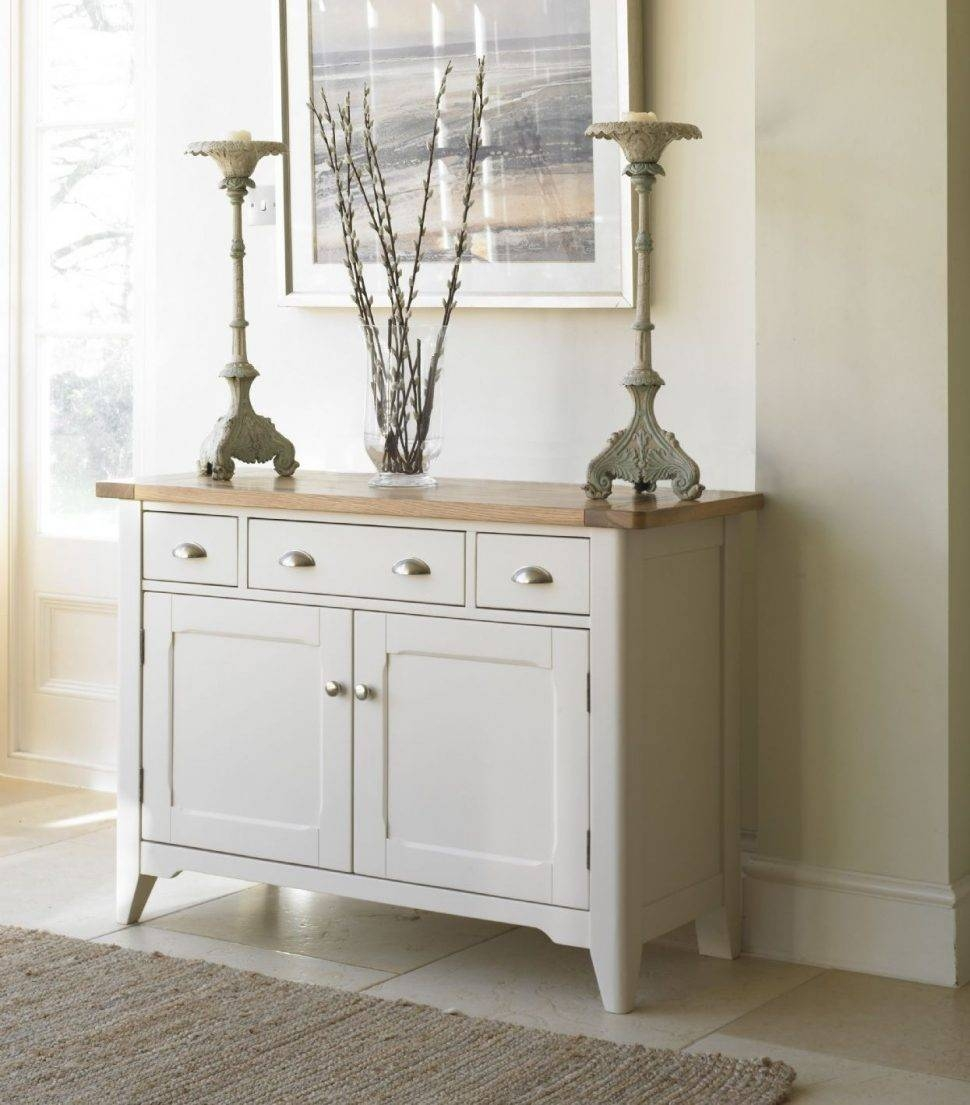 Sideboard : Painted Oak Small Sideboard Doors Drawers Finish White Throughout Small White Sideboards (#7 of 15)