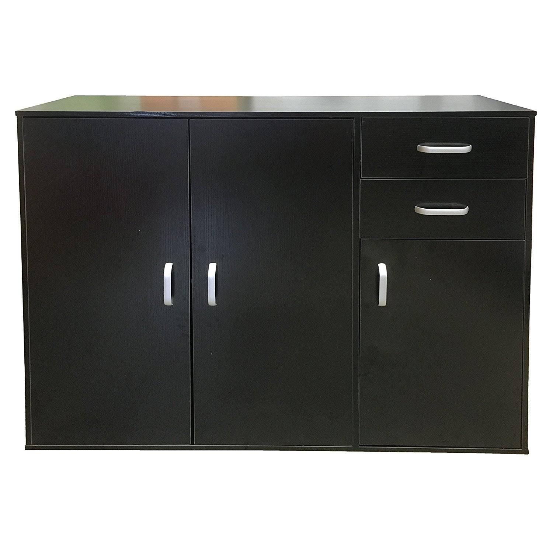 Sideboards: Amazing Black Sideboard Cabinet Distressed Black Regarding Black And Walnut Sideboards (#14 of 15)