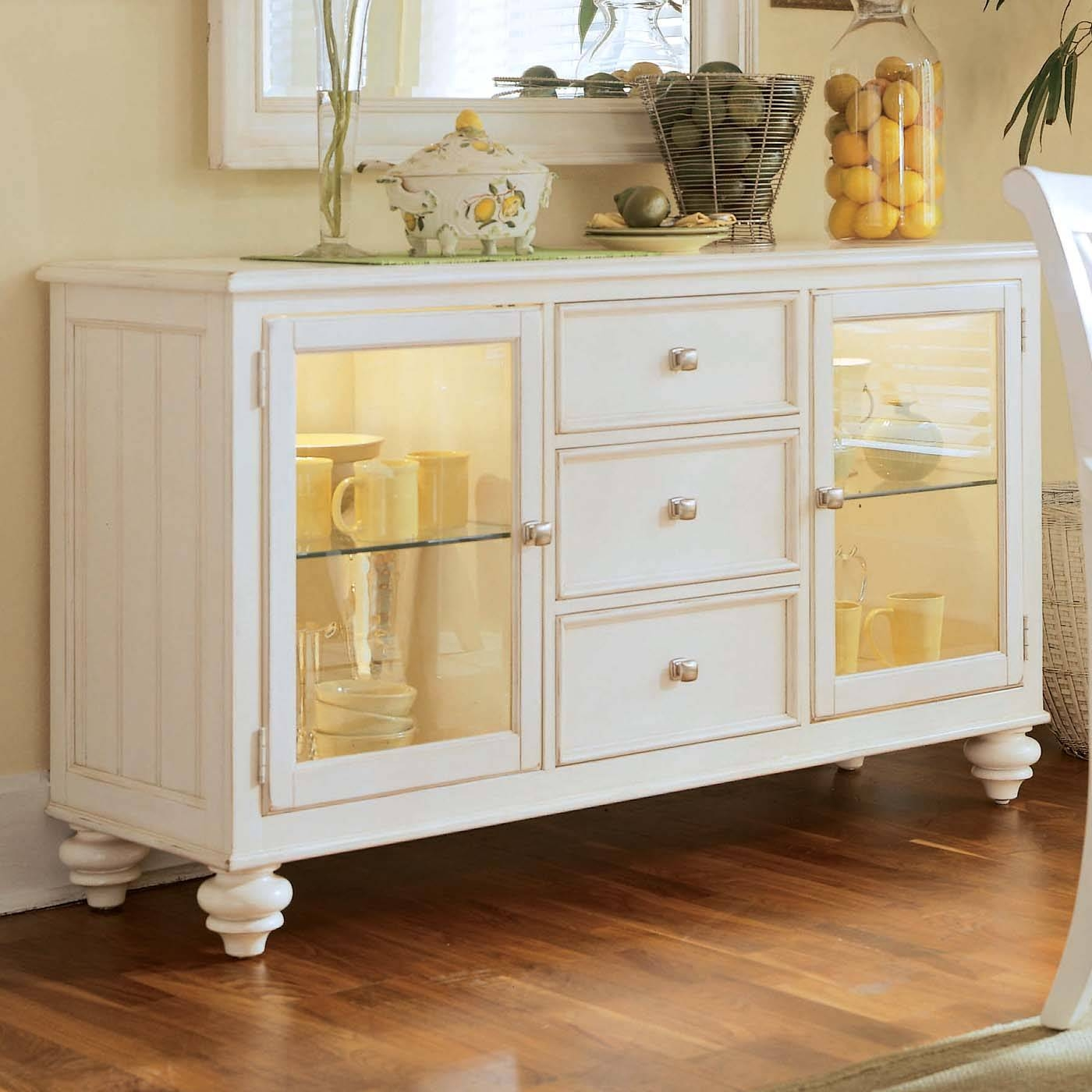 Sideboards: Amazing Glass Buffet Table Sideboard Furniture For Sideboards And Buffets With Glass Doors (#11 of 15)