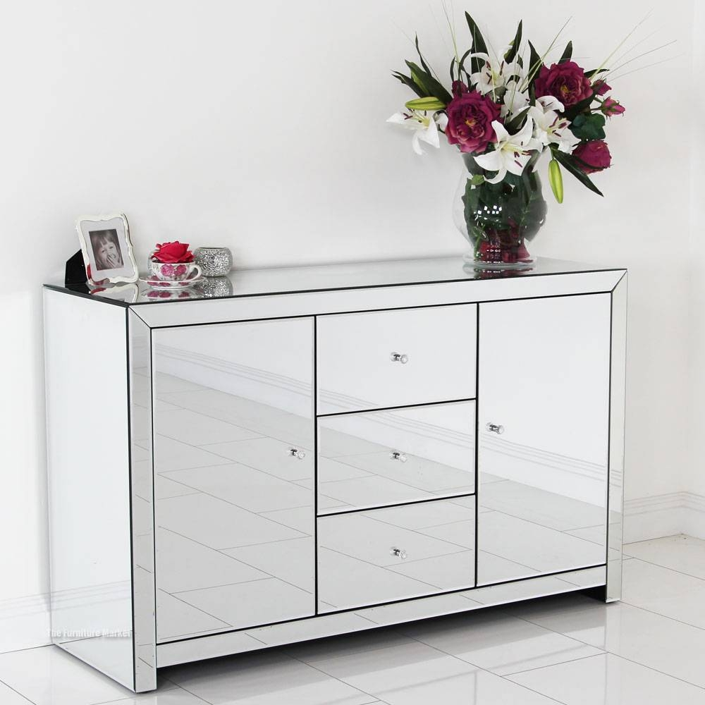 Sideboards: Glamorous White Mirrored Credenza Mirrored Sideboard In Sideboards With Mirror (View 12 of 15)