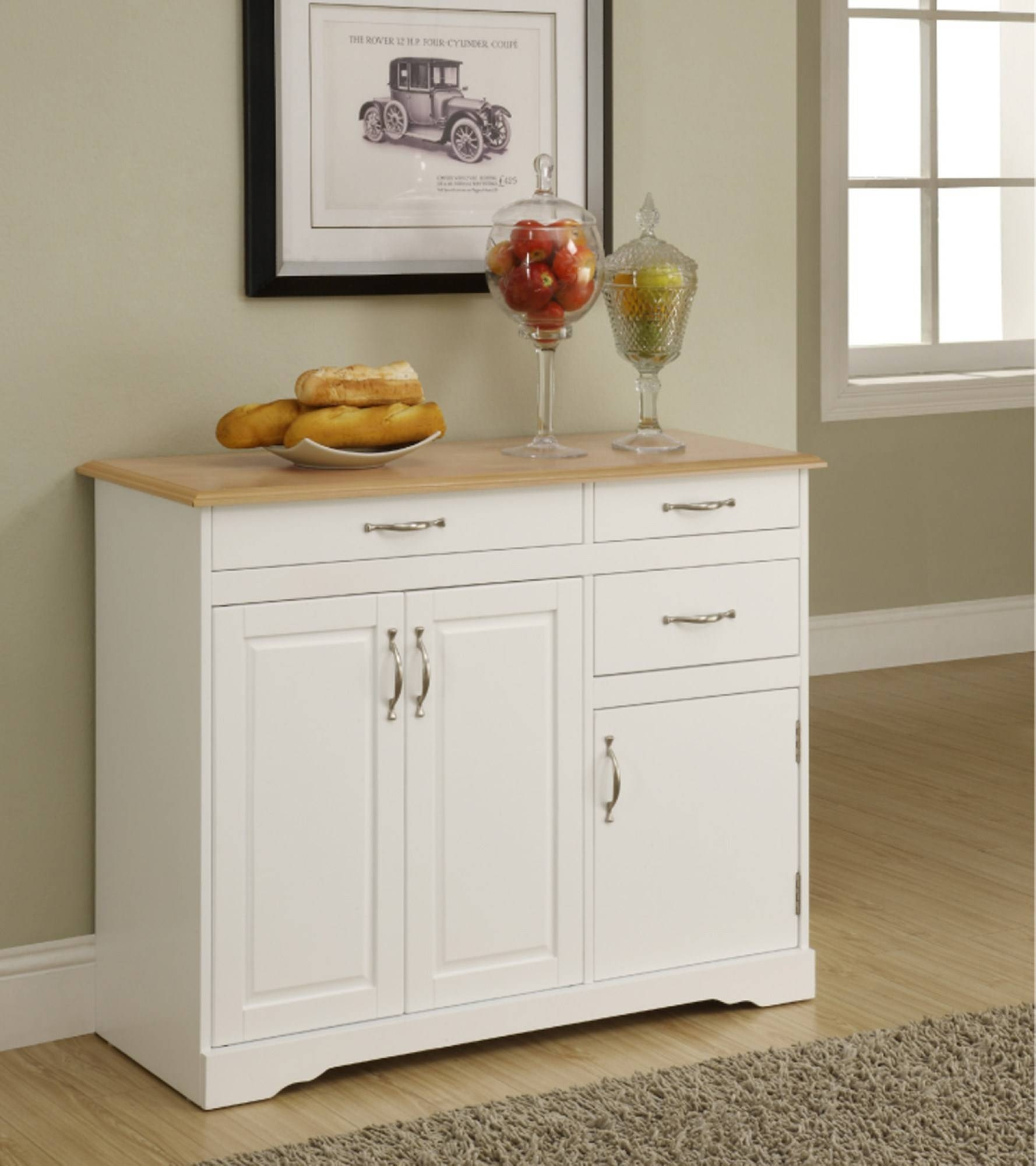 Sideboards: Marvellous Kitchen Credenza Buffet Table Decor, Buffet With Narrow White Sideboards (#15 of 15)