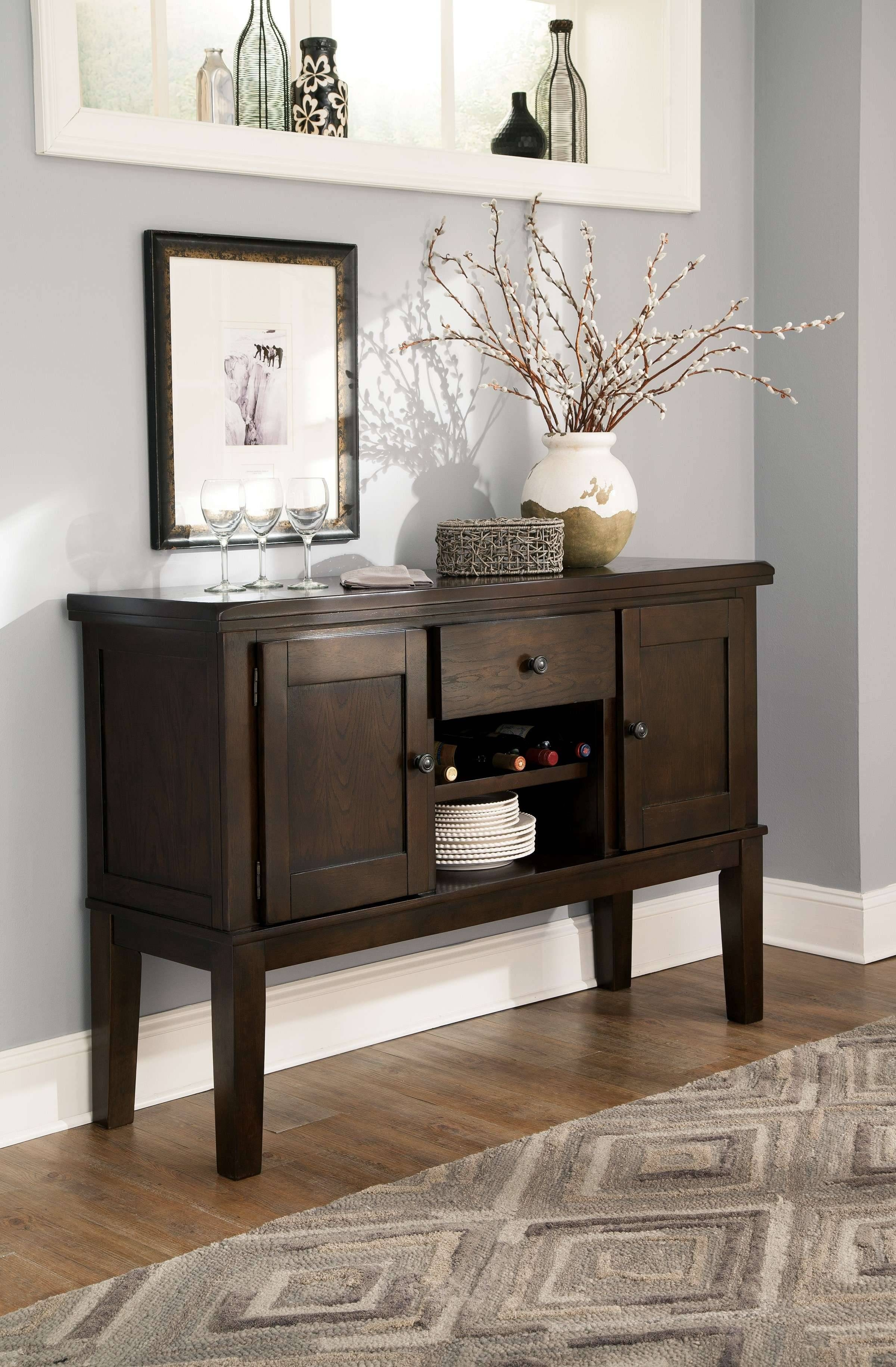 Signature Designashley Haddigan Dark Brown Dining Room Server Intended For Dark Brown Sideboards (View 3 of 15)