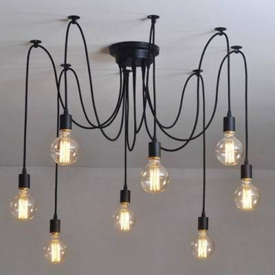 Simple 8 Light Edison Bulb Black Multi Light Pendant Pertaining To 2018 Multi Bulb Pendants (#14 of 15)