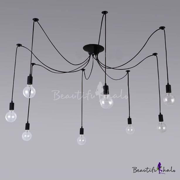 Simple 8 Light Edison Bulb Black Multi Light Pendant With Most Current Multi Bulb Pendant Lights (View 10 of 15)