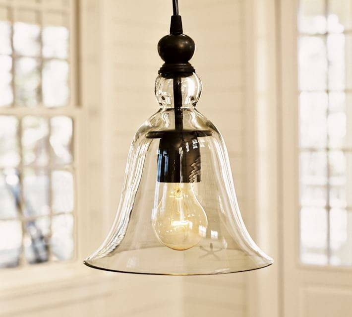 Small Rustic Glass Indoor/outdoor Pendant | Pottery Barn Pertaining To 2017 Bell Pendant Lights (#15 of 15)