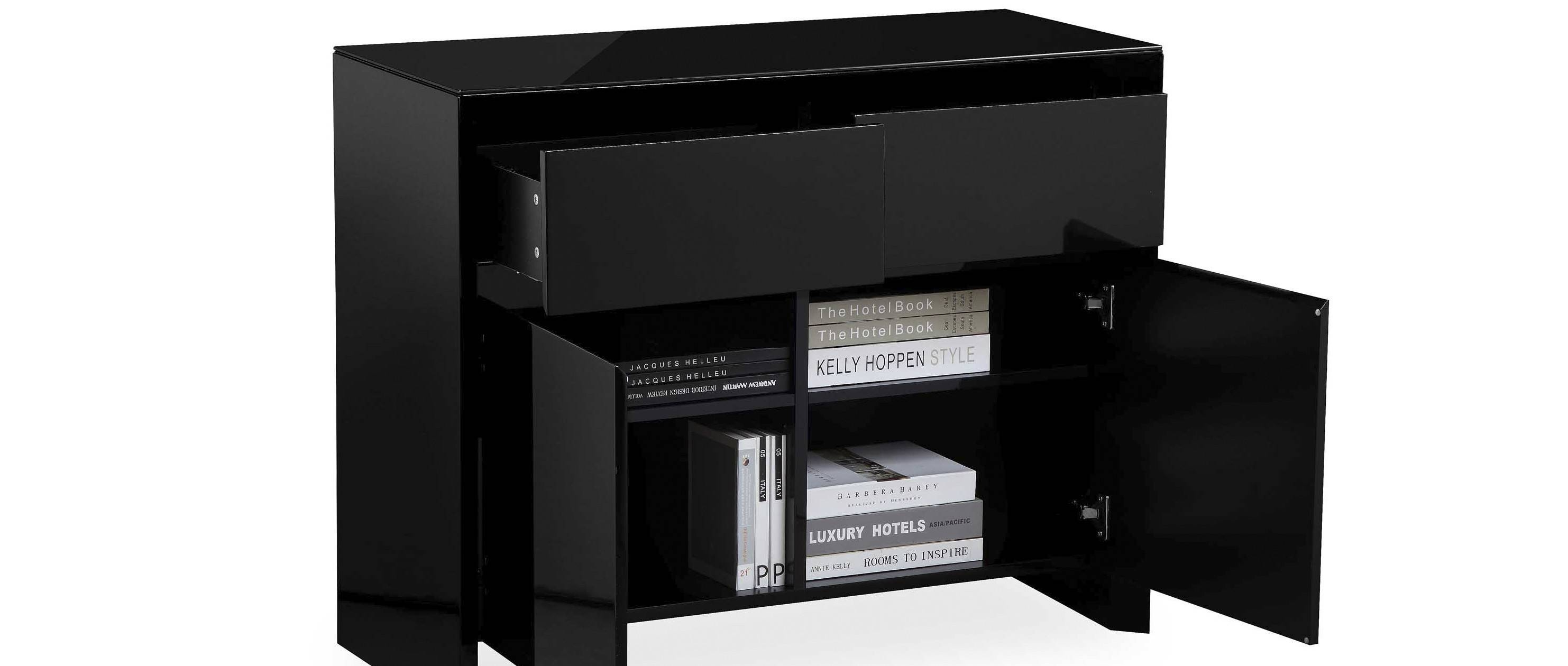 Soho – Medium Sideboard – Black High Gloss Regarding Black Gloss Sideboards (#13 of 15)